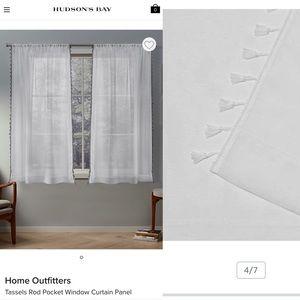 Curtains Tassels Sheer Rod Pocket , White, 54x63